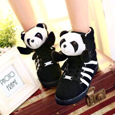 HOT Ladies Lace Up Cute Panda Ankle Boots High Top Flat Tennis Sneaker Shoes