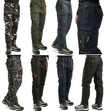 Men insulated cargo pants thermal lined work trousers army fatigue winter sport