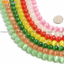 """8mm Round Lab Created Cat's Eye Glass Beads For Jewelry Making Strand 14"""""""