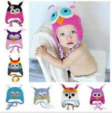 Baby Toddler Crochet Knit Knitted Wool Owl Long Tail Hat Photo Prop Beanie Cap