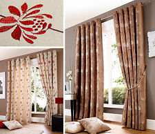 FLORAL EMBROIDERED FAUX SILK Eyelet Curtains  Ready Made Lined Ringtop Curtain