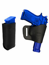 Barsony Black Leather Yaqui Gun Holster w/Mag Pouch for FN, GLOCK, HK Full Size