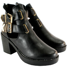 WOMENS CUT OUT INSERT STACKED HEEL TWIN BUCKLE ZIP BLACK ANKLE BOOT UK SIZES 3-8