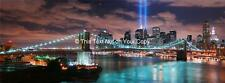Large New York City Manhattan Bridge Panorama Canvas Picture with Tribute Lights