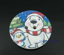 New Lovely Bear Pattern 2 Holes Wooden Buttons Fit Sewing Scrapbooking 30mm dia.