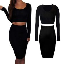 Sexy 2 Piece Set Jersey Midi Wiggle Skirt And Crop Top Long Sleeve Stretch 8-12