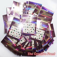 SANTA CLAUS Father Christmas Bows Trees Snowflake Nail Art Decals Stickers - New
