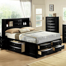 Emily Collection Bookcase Headboard Queen, King Black Captains Bed w/ 6 Drawers