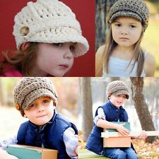 Baby Toddler Kid Boy Girl knitted Crochet Wool Brim Buttons Beanie Newsboy Hat