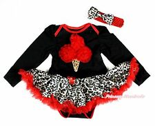 XMAS Red Ice Cream Black Long Sleeve Bodysuit Red Leopard Baby Pettiskirt NB-18M