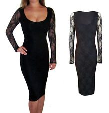 New Sexy Jersey Lace Stretch Bodycon Wiggle Midi Long Sleeve Dress Black 8 - 18