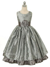 New Silver Gray Fancy Flower Girl Dress 2-12 Christmas Holiday Pageant Party