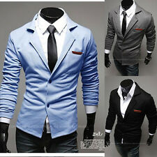 Mens Casual Dress Slim Fit Stylish two button Suit Blazer Jackets Coats 3 Color