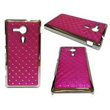 RHINESTONE DIAMANTE GEM HARD BACK CASE IN HOT PINK SONY XPERIA SP M35H C5302