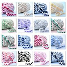 BY THE METRE  - GINGHAM PICOT LACE CROCHET EDGE BIAS BINDING check ribbon