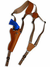 "NEW Barsony Tan Leather Vertical Gun Shoulder Holster for Ruger 6"" Revolvers"
