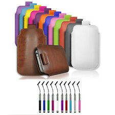PU LEATHER PULL TAB CASE & RETRACTABLE PEN FOR SMALL HUAWEI MOBILE PHONES