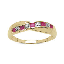 9CT GOLD RUBY & DIAMOND CHANNEL SET ETERNITY RING SIZE HIJKLMNOPQRSTUW