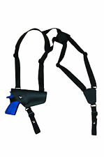 NEW Barsony Horizontal Black Leather Shoulder Holster Colt, Browning Full Size