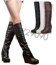 Womens Sexy Knee High Heels Boots Lace Up Wedge Platform Shoes US Size YB844