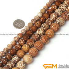 Vintage Smooth Round Wood Agate Jewelry Making Loose Gemstone Beads Strand 15""