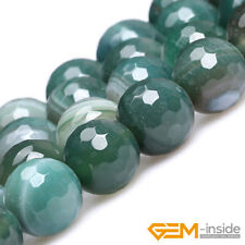 Natural Green Stripe Agate Gemstone Faceted Round Beads For Jewelry Making 15""