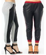 plus size contrast stretchy sweat back faux leather front pocket jogger pants