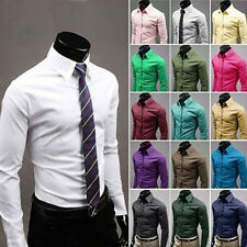 New Mens Luxury Stylish Casual Dress Slim Fit Shirts 17Colours 5Size