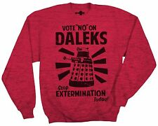 Doctor Who Vote No pn Daleks Antique Cherry Red Crew Neck Fleece