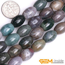 "Natural Stone Indian Agate Olivary Beads For Jewelry Making 15"" 6x9mm 8x12mm"