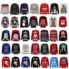 DD13 WOMENS XMAS LADIES NOVELTY RETRO CHRISTMAS WINTER SWEATER JUMPER SIZE 8-14