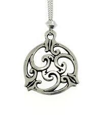 Handmade Celtic Knot Triskele Spiral Pewter Chain Pendant #1 ~ Truth, Harmony