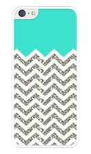 Chevron Pattern( Without Actual Glitter) with Turquoise Rubber iPhone 5C case