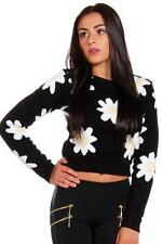 Womens Ladies Floral Daisy Flower Print Long Sleeve Knitted Cropped Jumper Top