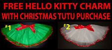 Girls Christmas Tutu Large Ribbon Accent & Bow - FREE Hello Kitty Charm