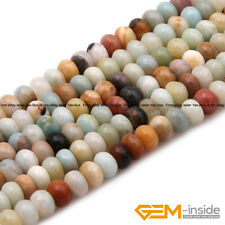 "Natural Amazonite Gemstone Rondelle Spacer Beads For Jewelry Making 15"" Yao-Bye"