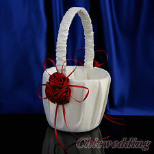 Ivory Satin Wedding Flower Girl Basket Ribbon Floral Bow & Red 3D Rosettes Favor