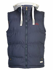 Mens Tokyo Laundry Quilted Padded Detachable Hood Gilet Gillet Bodywarmer Blue