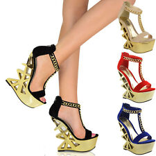 LADIES WOMENS PLATFORM CUT OUT STRAPPY PARTY HIGH HEEL WEDGES SHOES SANDALS SIZE