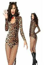 Halloween Leopard Catsuit Animal Print Dress Sexy Cougar Costume Party Outfit