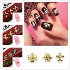 20 Pcs 3D Design Alloy Cross  Gold / Silver/Bronze Plated Nail Art Sticker Studs