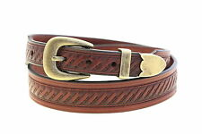 Men's Chestnut Bridle Leather Belt Embossed 1 3/8 Tapered Buckle Set Made In USA