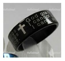 Stainless Steel Serenity Prayer Ring. Black. 5 sizes  - Ships from Canada