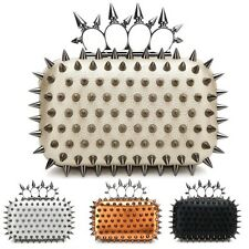 Fashion Womens Spikes Studs Skull Knuckle Ring Clutch Box Evening Party Hand Bag