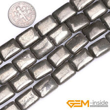 """Rectangle Silver Gray Pyrite Jewelry Making loose gemstone beads strand 15"""""""