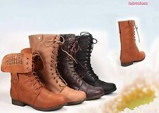 Womens Zipper Combat Military Boots Lace Up Foldable Boots Shoes NEW Size 5 - 10