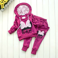 Kids Bowknot Sports Clothes Wear Baby Clothing Outfit Girls Sports Suit Hoodie