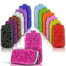 DIAMOND BLING LEATHER PULL TAB SKIN CASE COVER POUCH FITS VARIOUS HTC PHONES