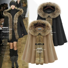 Winter New Ladies Bukle Fur Collar Hooded Batwing Cape Poncho Coat Loose Outwear