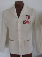NWT Ralph Lauren Rugby Shawl Collar Cardigan Sweater Jacket 1924 Ivory Off White